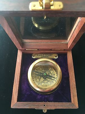 Heavy BRASS COLLECTABLE  COMPASS WITH WOODEN BOX Earls Court London .