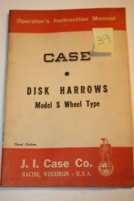 VINTAGE CASE OPERATORS INSTRUCTION MANUAL~DISK HARROWS Model S WHEEL TYPE-10/54