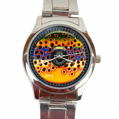 best abelcl assic fly reel in fish DeYoung Brown Trout Flank metal sport watches