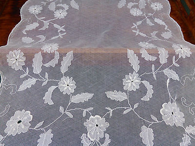 Vintage Tambour Embroidered Net Lace Centrepiece and Doily
