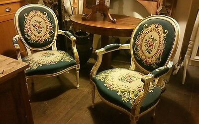 A Pair of French Louis Antique Style Armchairs Fauteuils
