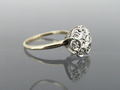 Vintage Art Deco 10K Solid Yellow & White Gold Diamond High Setting Ring Size 8