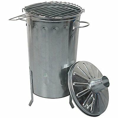 Garden Galvanised Metal Incinerator Fire Burning Bin Pit 18L and BBQ Grill Set