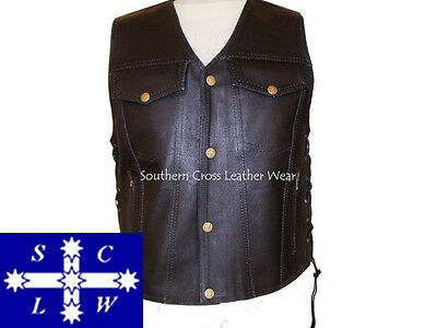 Men's Leather Motorcycle Vest US Style with Braiding