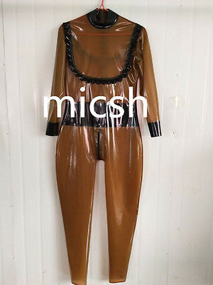 100%Latex Rubber Lace Stylish Coffee Tights Catsuit Suit Fashion Size XS~XXL