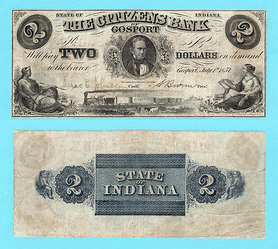 1857 The Citizens Bank $2 Two Dollars Gosport Indiana Obsolete Banknote Free S&H