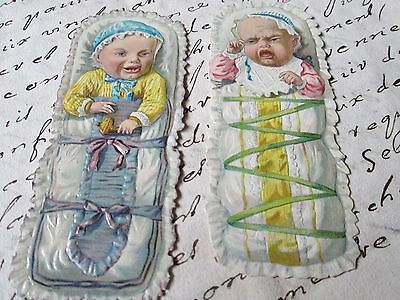 Antique lot of 2 scraps Cute Baby's-Germany