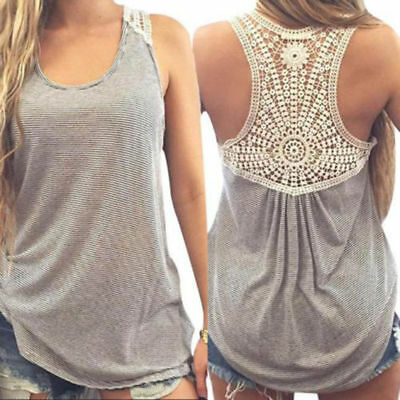 US Fashion Women Summer Lace Vest Top Sleeveless Blouse Casual Tank Tops T-Shirt