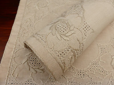 3 Antique Ecru Linen Hand Embroidered Doilies