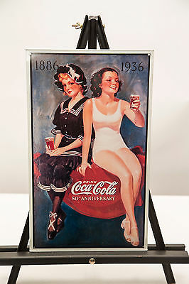 1993 Vintage Reproduction Coca Cola 50th Anniversary 1886-1936 Tin Sign 9.5x16""