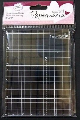 Papermania Clear Acrylic Stamp Block 4 x 5 1/4 + Grid for Mounting Rubber Stamps