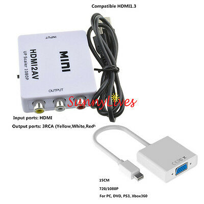 1080P Mini Composite HDMI to RCA Audio Video AV CVBS Adapter Converter For HDTV