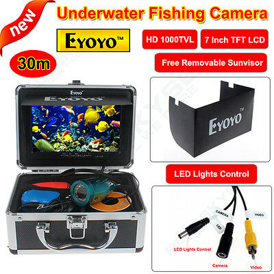 """30m Fish Finder Underwater Ice Fishing Camera 7"""" Color HD Monitor+Sunshade Cover"""