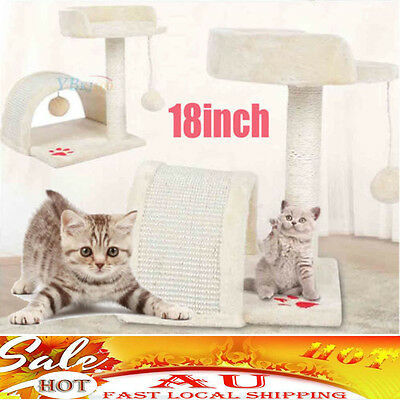 Cat Scratching Tree Post Gym House Furniture Scratcher Sisal Pole Toy Beige 45cm