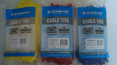 Cabac CT200 Cable Ties 200mm X 4.8mm Packs of 100 Red Blue or Yellow