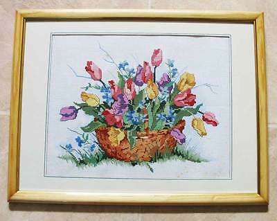 Tapestry Framed Vintage Needlework Embroidery Cross-Stitch - Basket of flowers