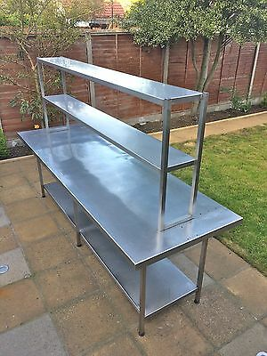 Unique, Large Stainless Steel Catering Prep Table With Shelving Unit Over