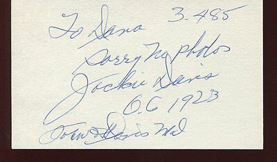 1923 our gang JACKIE DAVIS autograph HAND SIGNED index card sb299