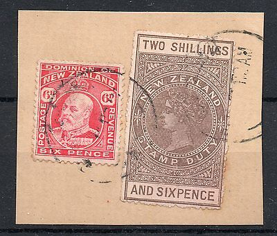 New Zealand QV 2/6d fiscal used on small piece
