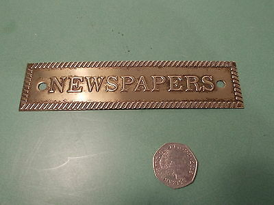 Reclaimed Antique Brass  Sign/ Plaque. Newspapers