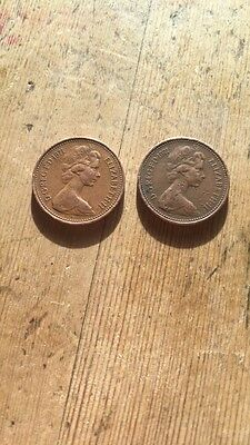 *RARE* 1971 'NEW PENNY' 1p pence coin - 2 coins
