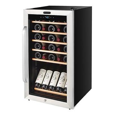 34 Bottle Freestanding Stainless Steel Wine Refrigerator with Display Shelf and
