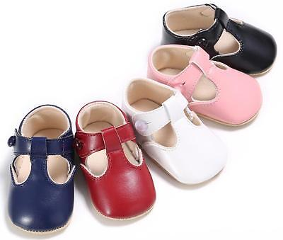 Newborn Baby Boy Girl T-Bar Crib Shoes Infant Toddler Pre Walkers Shoes 0-18 M