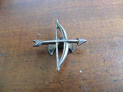 Antique Sterling Silver Cupids Bow Lovers Archery Bow & Arrow Brooch Pin