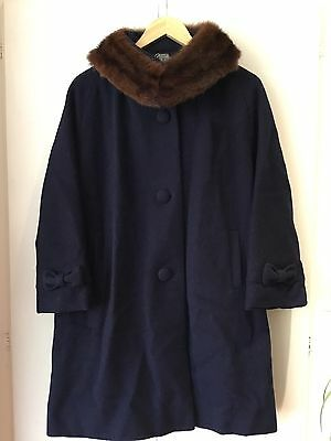 VINTAGE 1950's Navy Blue PURE WOOL WINTER SWING COAT Real Fur Collar BOW DETAIL