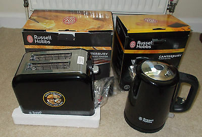 Russell Hobbs Black & Silver Kettle and 2 Slice Toaster Canterbury Free P+P
