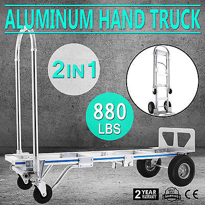 VEVOR Aluminum Hand Truck 2in1 Dolly Utility Cart Push Luggage 4 Wheels Trolley