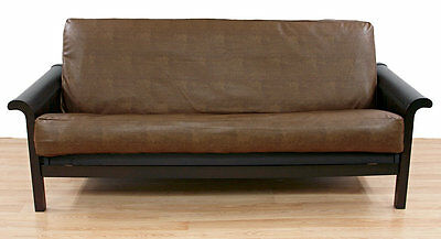 Dunbar Buckwheat Faux Leather Futon Slipcover Easy Fit FREE SHIPPING