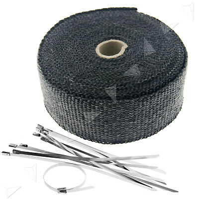"""Exhaust Manifold Downpipe Black Heat Wrap 2""""x 33ft & 10PCS Ties Pipe Tape"""