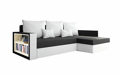Brand New Corner Sofa Bed MADRAS BLACK AND WHITE With Underneath Storage