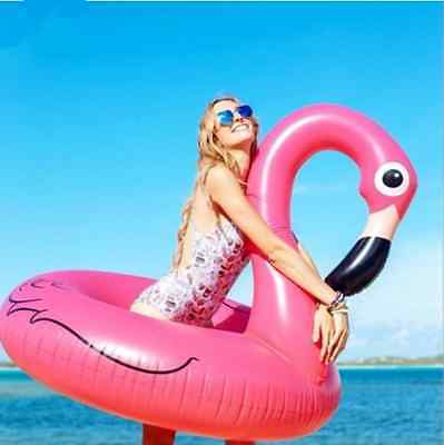 47'in Pink Inflatable Giant Flamingo Shaped Pool Float Ring  Swimming Water Fun