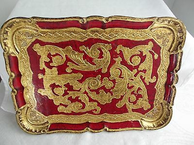 Vintage Davorato Amano  Italian Serving Tray Red and Gold Florence Italy