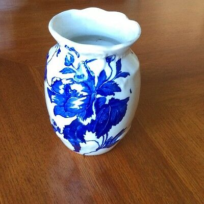 "Antique Ridgway ""Astoria"" Pattern Blue and White Vase"