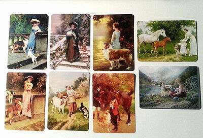 8 Lady & Collie Dogs Swap / Playing Cards - Modern Wide - Linen