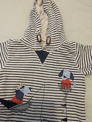 NEXT boys 12-18m hooded top cool cotton nautical