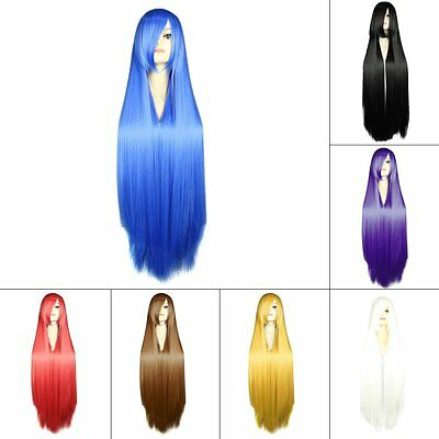 Women Fashionable 100CM Long Straight Synthetic Lolita Cosplay Party Wig SV