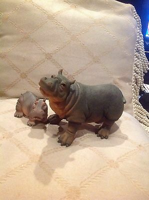 Set Of 2 ~ Mother And Baby Hippo Figurines