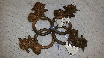 Foo Fuu Fu  Dog Napkin Ring  Holder Set Wood Wooden Brown NWT