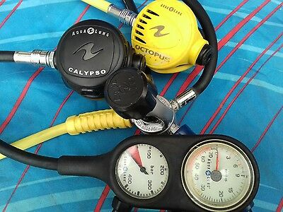 Aqualung Calypso Regulator A Clamp 1st stage Double ConsoleConsole Scuba Diving