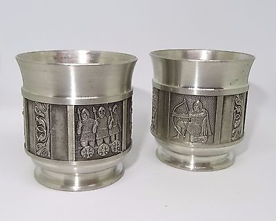 Set Of 2 Konge Tin Norway Pewter Shot Glass Viking Design