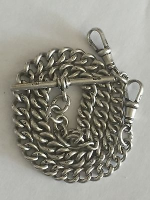Antique 1890's Superb Double Albert Guard Chain Of Solid Silver Each Link H/Mark