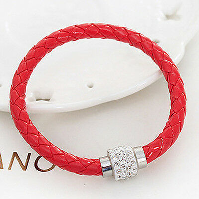 1Pc Red Gilrl Cuff Punk Leather Wristband Magnetic Buckle Bangle Bracelet
