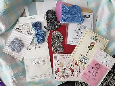 10 rubber stamps and asstd card