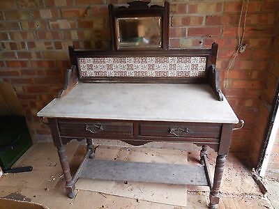 Vintage Marble Top Wash Stand With Mirror And Tiled Back