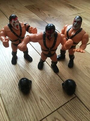 WWE WWF Hasbro Demolition Ax And Smash Crush With 2 Custom Helmets Tag Team Rare