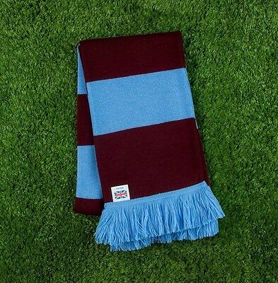Burnley FC Colours Retro Bar Scarf - Burgundy & Blue - Made in UK